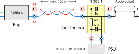 31550 6at the left is the 31550 6 bug with its red ( ) and blue ( ) wires which should be connected to the corresponding terminals of the t shaped black 31530 1