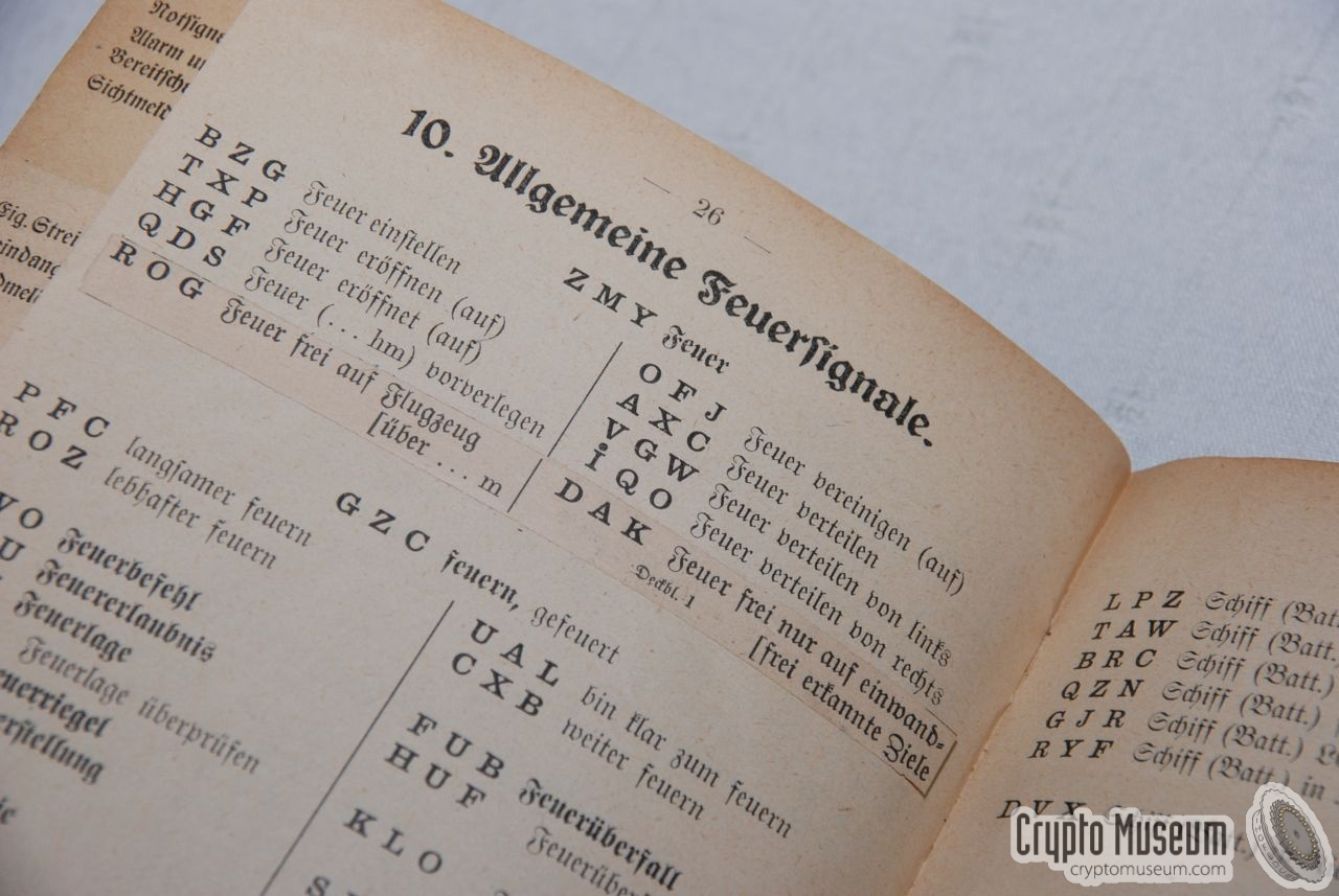 Funkverkehrsheft courtesy  Enigma Machine Message