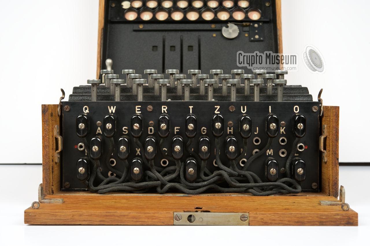 View at the plug board  Enigma Machine Message