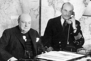 Prime Minister Winston Churchill (left) in the Cabinet War Room
